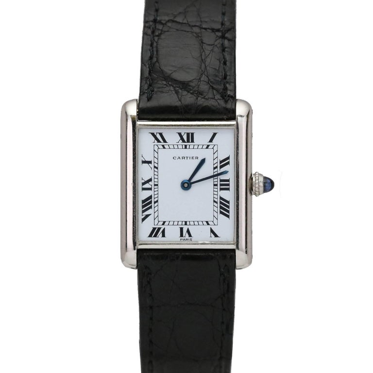 Cartier Platinum Tank Manual Wristwatch, circa 1970s For Sale
