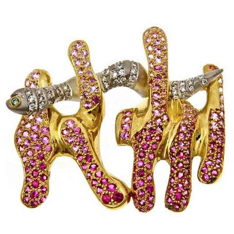 Pink Sapphires Platinum 18k Eel Brooch by John Landrum Bryant