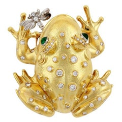 Diamond Emerald 18k Gold Platinum FROG AND DRAGONFLY Pin by John Landrum Bryant