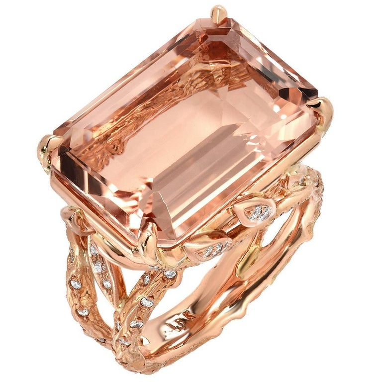 14.49 Carat Emerald Cut Morganite Diamond Rose Gold Ring For Sale