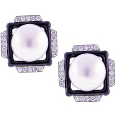 David Webb Mabe Pearl Diamond Earrings