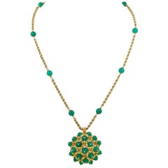 1970s Van Cleef & Arpels Chrysoprase Gold Chain Necklace