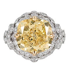 7.80 Carat Cushion Canary Yellow Diamond Ring