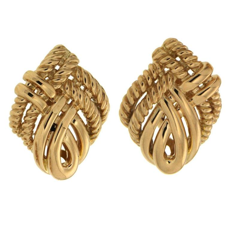 Valentin Magro Gold Four Line Twist Earrings