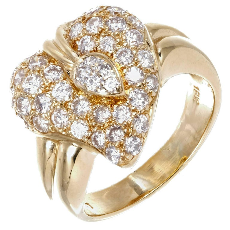 Dome Heart Diamond Gold Cocktail Ring