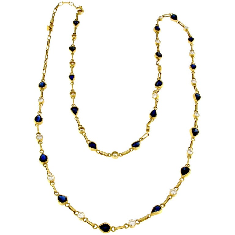 Necklace in Blue Sapphire and Diamond in 18 Karat Yellow Gold