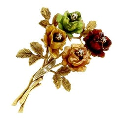 Wonderful Brooch Rose Bouquet in 18 Karat Gold