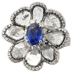 Blue Sapphire and Sliced Diamond Floral Ring