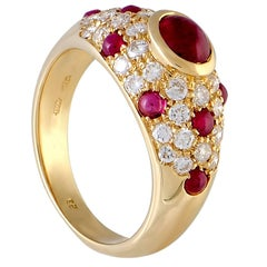 Cartier Diamond and Ruby Yellow Gold Dome Ring