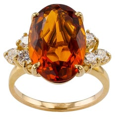 Madeira Citrine Diamond Gold Cocktail Ring