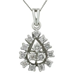 Contemporary 0.70 Carat Diamond 18 Karat White Gold Cluster Pendant