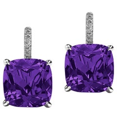 Cushion Cut Amethyst Diamond Platinum Drop Earrings
