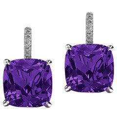 Cushion Cut Medium Size Amethyst Diamond Platinum Drop Earrings