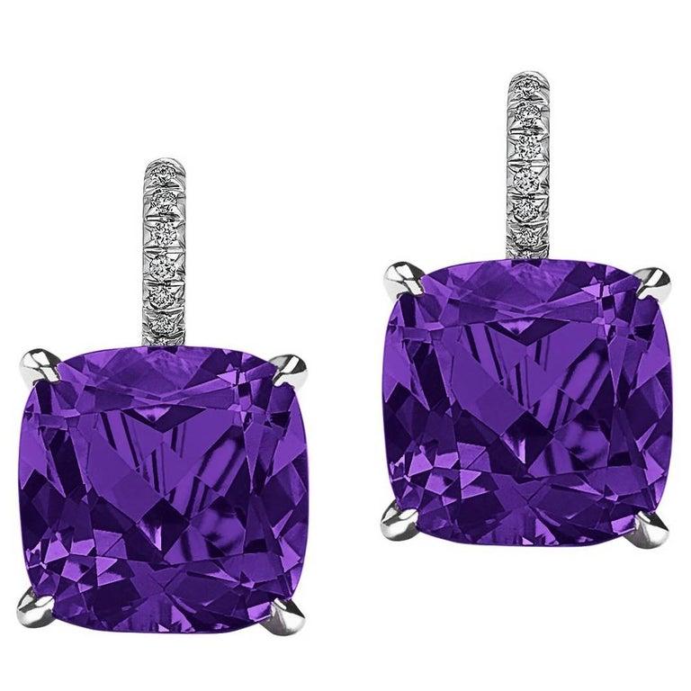 Cushion Cut Amethyst Diamond Platinum Drop Earrings