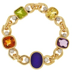 Multi-Color Stone Link Bracelet with Beryl, Lapis, Madeira Citrine and Peridot