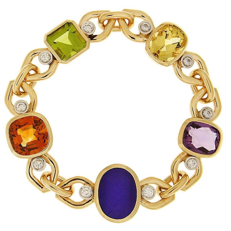 Multi-Color Stone Link Bracelet with Beryl, Lapis, Madeira Citrine and Peridot 1