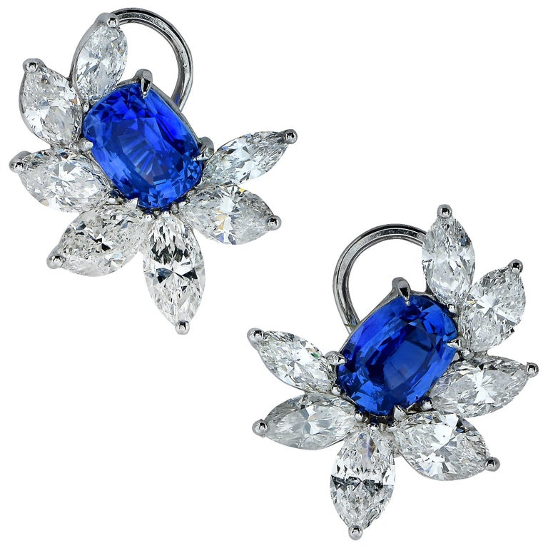 9.54 Carat Diamond and Sapphire Lever-Back Earrings