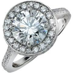 GIA Graded 2.84 Carat Diamond Halo Engagement Ring