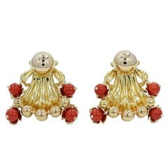Coral Free-Form Yellow Gold Earrings