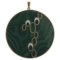 1970s Malachite Diamond Gold Pendant