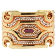 Massive Diamond Ruby Gold Wide Cuff Bracelet