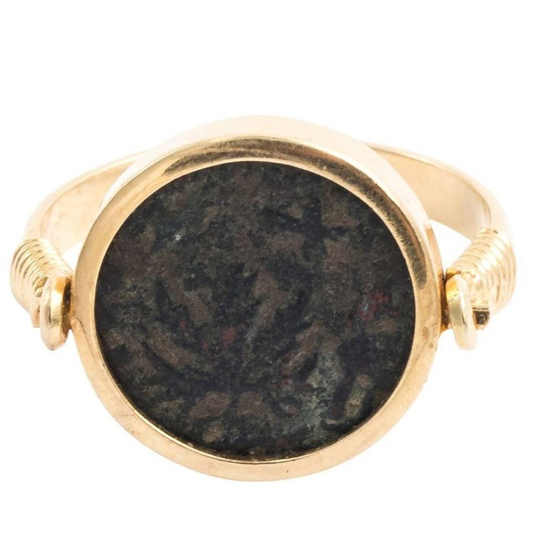 Late Victorian Roman Coin Ring Set in 18 Karat Gold