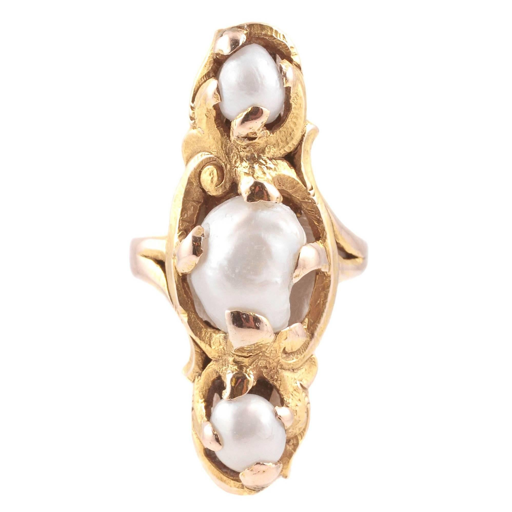 Art Nouveau Pearl Yellow Gold Ring