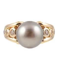Natural Color Tahitian Cultured Pearl Diamond Ring Yellow Gold