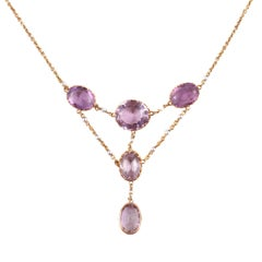 Edwardian Amethyst Seed Pearl Necklace