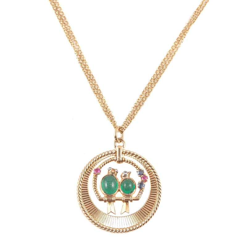 Van Cleef & Arpels Emerald Sapphire Ruby Pendant with Associated Chain For Sale