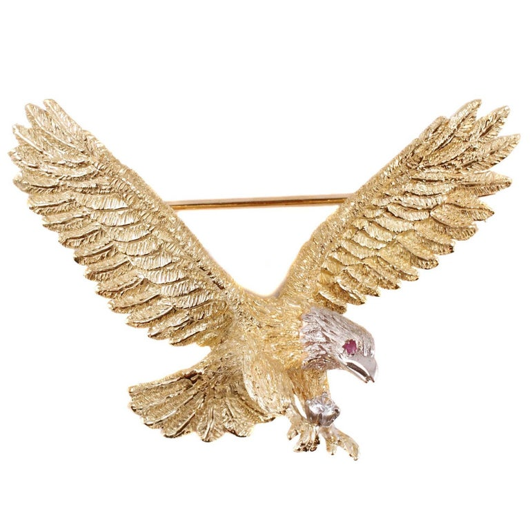 Beautiful Two-Tone Eagle Brooch Accent Diamond