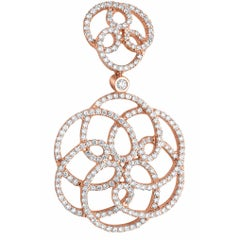 482 White Diamond 1.98 Carat 18 Karat Rose Gold Dangle Earrings