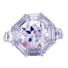 2.58 Carat Diamond Octagon Frame Ring