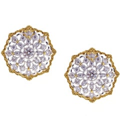 Mario Buccellati Round Cassiopeia Diamond Gold Earrings