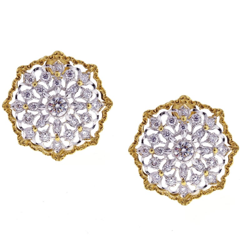 Mario Buccellati Round Cassiopeia Diamond Gold Earrings For Sale