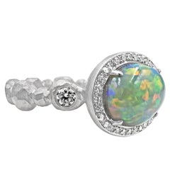 Pamela Froman Exceptional Lightning Ridge Black Opal Crystal White Diamond Ring