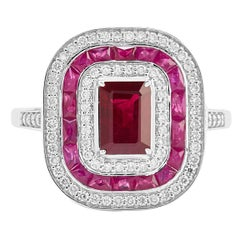Vivid Ruby Diamond Double Halo Cocktail Ring
