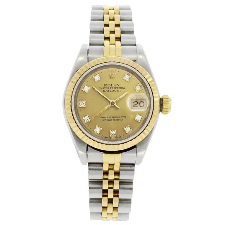 Rolex Yellow Gold Stainless Steel Datejust Diamond Dot Dial Wristwatch, 1989