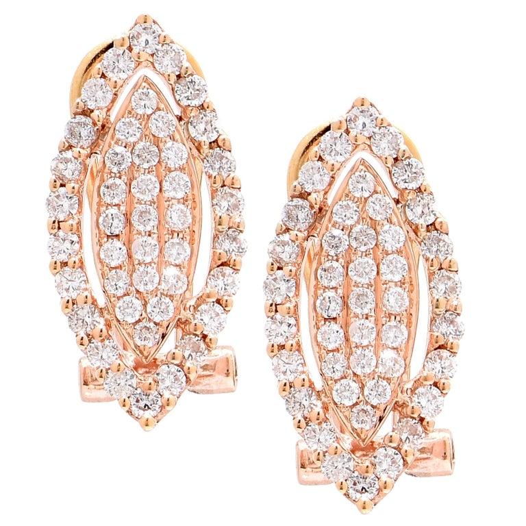 Diamond Rose Gold Earclips