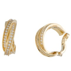 Cartier Trinity Diamond Yellow Gold Clip-On Earrings