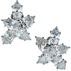 Vivid Diamonds 12 Carat Diamond Platinum Flower Earrings