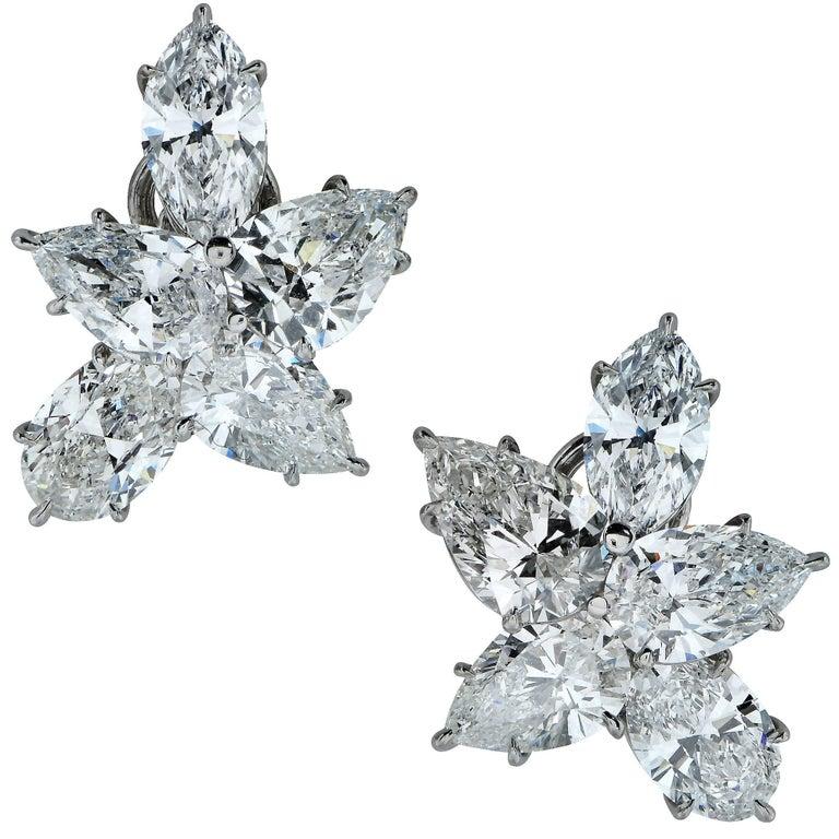 12 Carat Diamond Platinum Flower Earrings