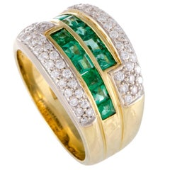 Damiani Diamond and Emerald Yellow Gold Band Ring