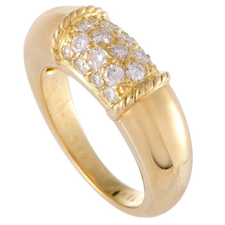Van Cleef and Arpels Diamond Yellow Gold Band Ring For Sale at 1stdibs