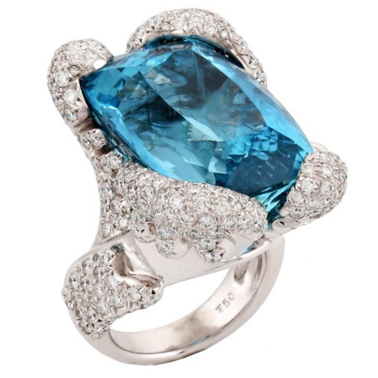 34.10 Carat Aquamarine Ring by John Landrum Bryant For Sale