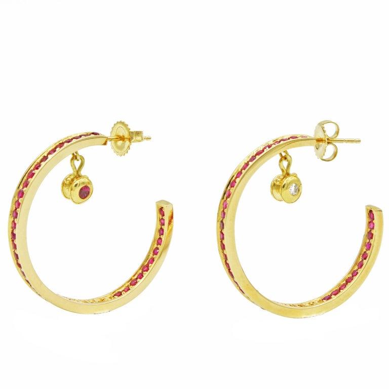 Gold Ruby Hoop Earrings