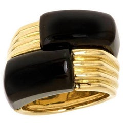 18k Gold Black Onyx BUONA FORTUNA Ring by John Landrum Bryant