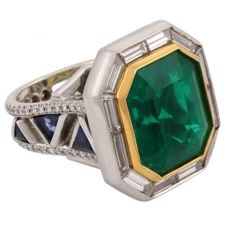 14.68 Carat Emerald DREAMS Ring White Diamonds Blue Sapphire John Landrum Bryant