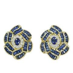 Bellarri Sapphire and Diamond Yellow Gold Earrings