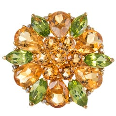 Mixed Cut Peridot, Citrine and Diamond Flower Ring